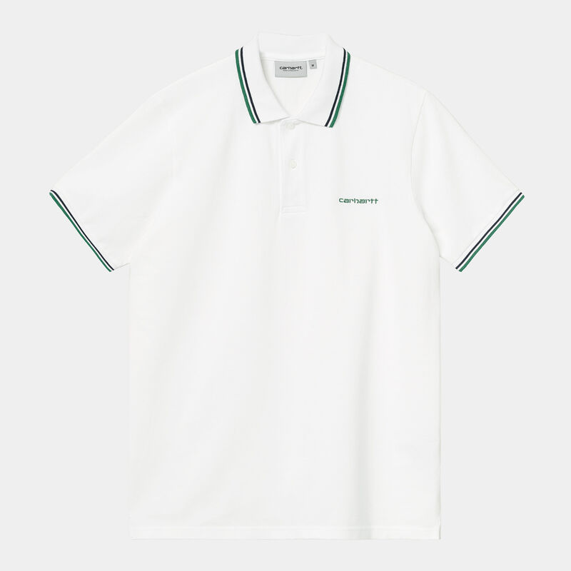 S/S Script Embroidery Polo BLANCO XS